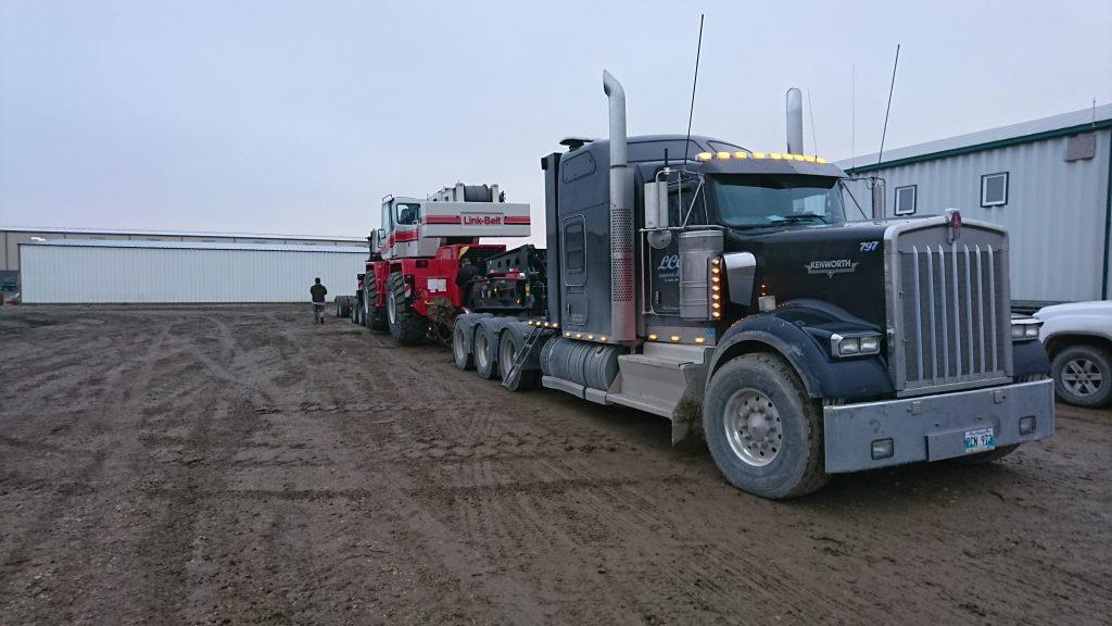 heavy hauling the crane off some tight manitoba roads